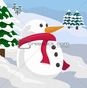 A snowman in a winter scene