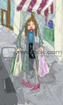 A woman looking fedup shopping in the rain.
