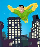 a super hero flying over a city