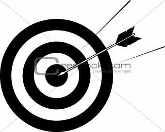 Arrow striking centre of target
