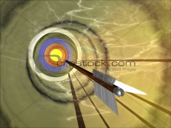 An arrow hurtling towards a bullseye