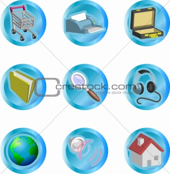3d color web and internet icon series