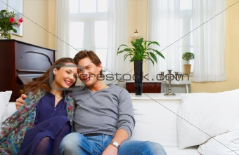 A young couple in their fashionable home.