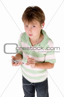 Boy holding mp3 player