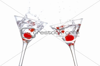 Toast with two cocktail glasses