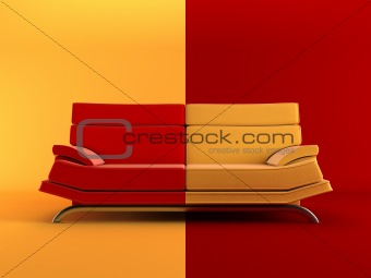 modern two-coloured couch