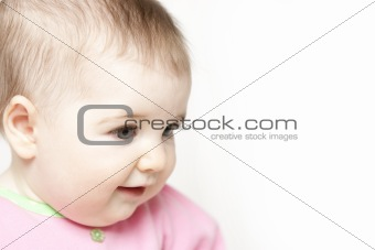 Sixth Month Old Baby Girl Profile on White