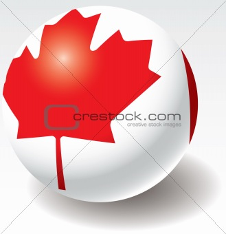 Canada flag texture on ball.