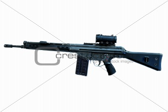 automatic carbine 4 whit red dot sighting