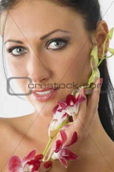 stunning eyes and orchid