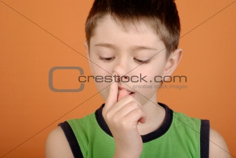 Boy is picked in a nose