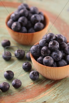 Fresh Blueberries in Wooden Bowls