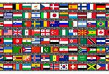 flags on film strip