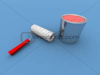 paint roller and red paint can