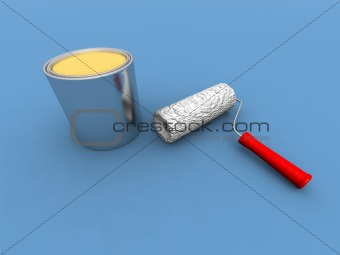 paint roller and yellow paint can