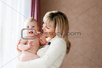 happy child with mom
