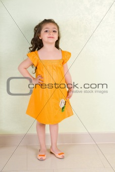 beauty in yellow dress