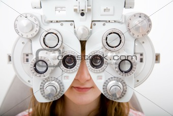 Patient in ophthalmology lab