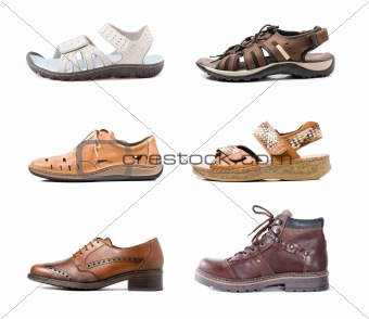 Various shoes isolated on white