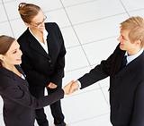 Portrait of business people shaking hands on a deal and smiling