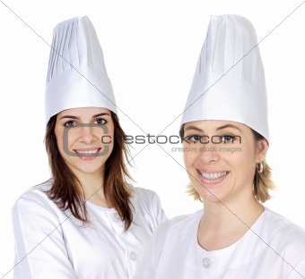 Attractive couple of cook girls