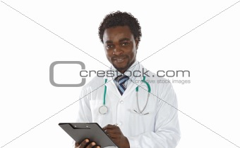 African american man doctor writing