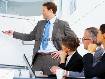 Portrait of confident business man demonstrating report to colleagues