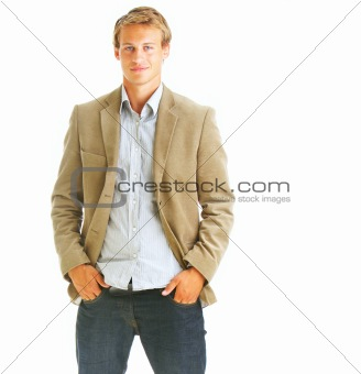 Smart handsome business man smiling over white background