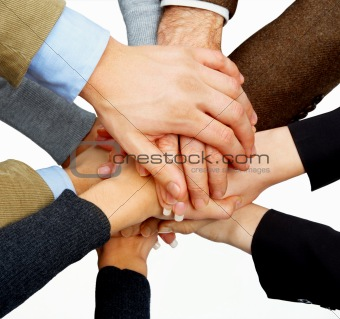 Hands in unity on white background