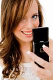 close view of woman holding mobile