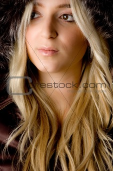 close up of beautiful woman looking aside