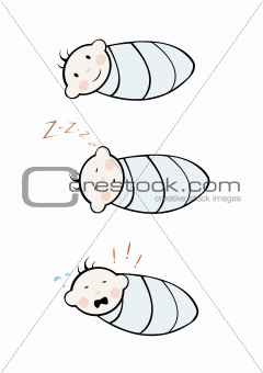 Three infants on white background