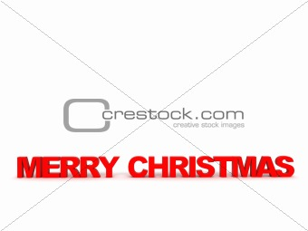 three dimensional front view of merry christmas text