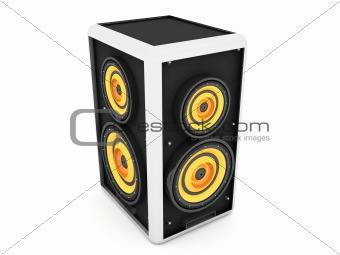 three dimensional front view of sound box