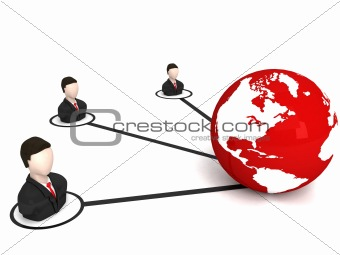 three dimensional business people with globe