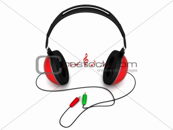 three dimensional view of headphone with notes