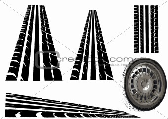 Car Tyre and tyre tracks
