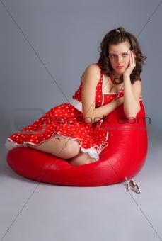 beautiful woman red dress.