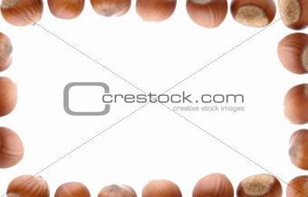 Frame of hazelnuts