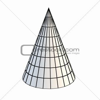 faceted white 3d cone