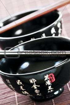 Rice bowls and chopsticks