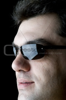 Man on sun glasses closeup
