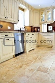 Tile floor in modern kitchen