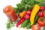 Fresh vegetables and glass of tomato juice