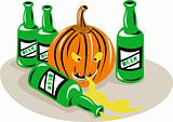 Halloween pumpkin and beer bottles