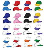 A variety of baseball cap colors
