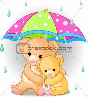 Bears under umbrella