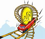 Dollar riding a roller coaster