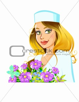 beautiful woman doctor with flowers