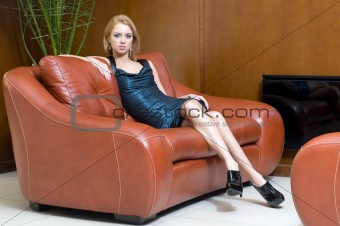 blonde girl  in office